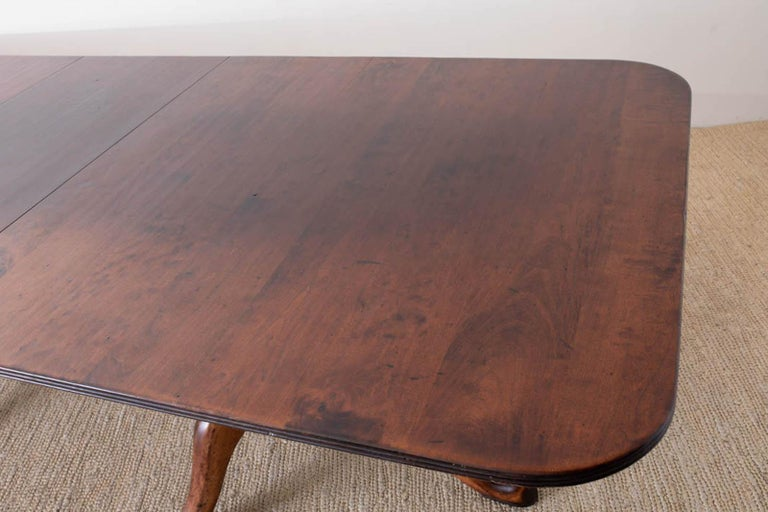 Georgian Style Double Pedestal Walnut Dining Table For Sale 6