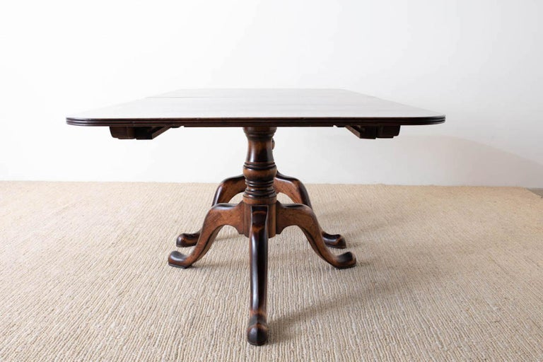 Georgian Style Double Pedestal Walnut Dining Table For Sale 7