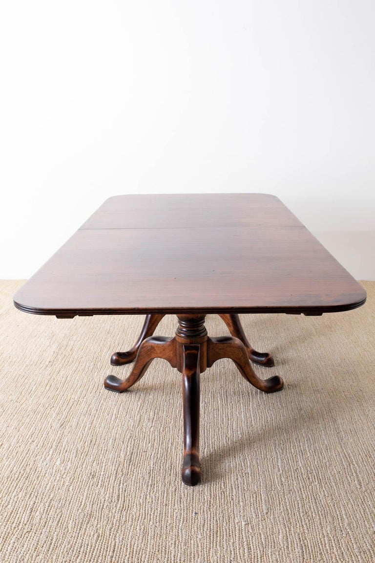 Hand-Crafted Georgian Style Double Pedestal Walnut Dining Table For Sale