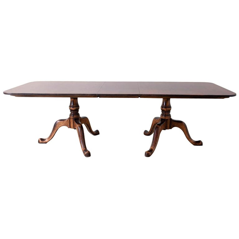 Georgian Style Double Pedestal Walnut Dining Table For Sale