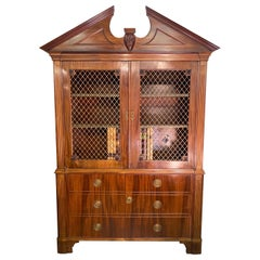 Georgian Style Dutch Mahogany Cabinet with Sliding Faux Book Safe
