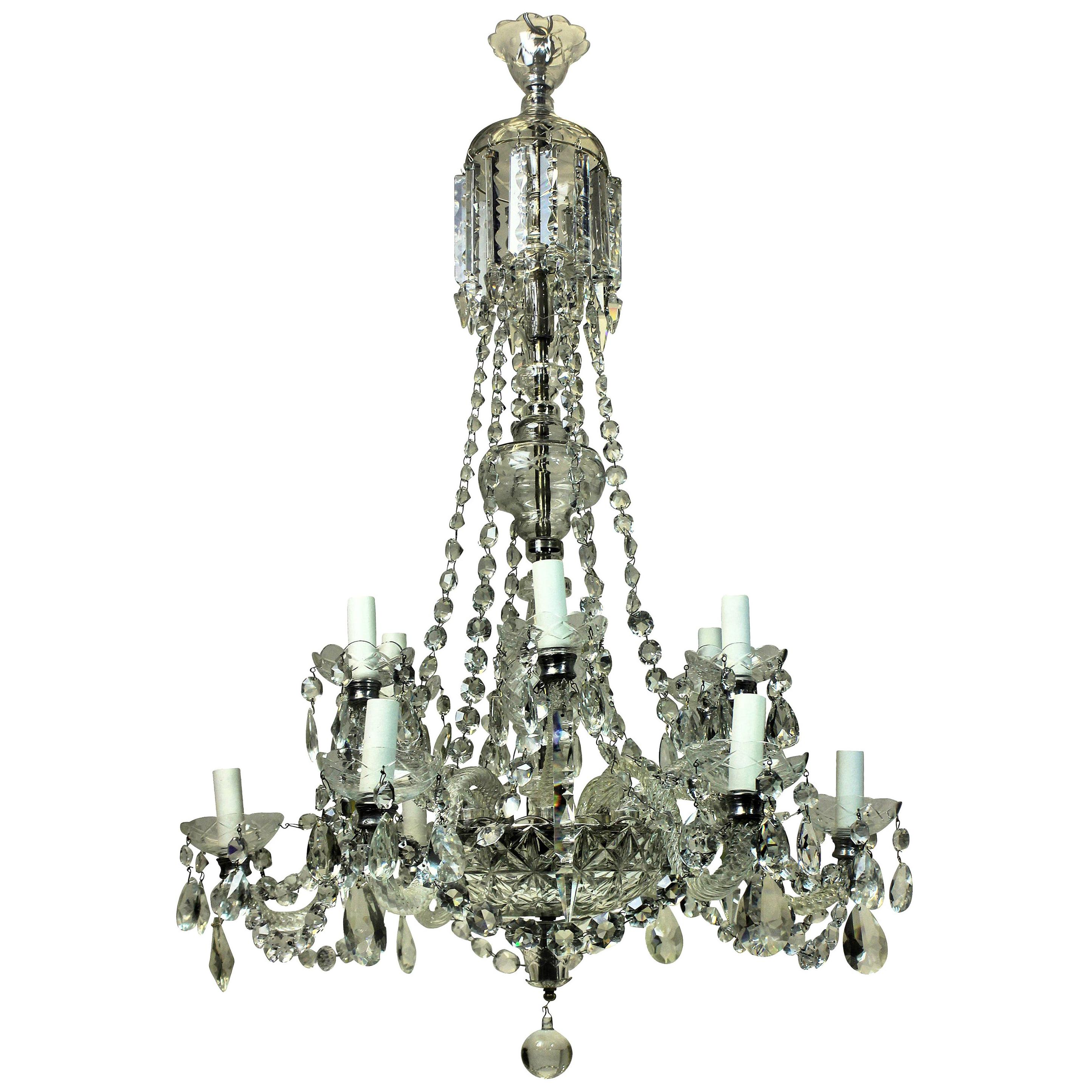 Georgian Style English Cut-Glass Chandelier