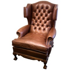 Georgian Style English Leather Wing Armchair