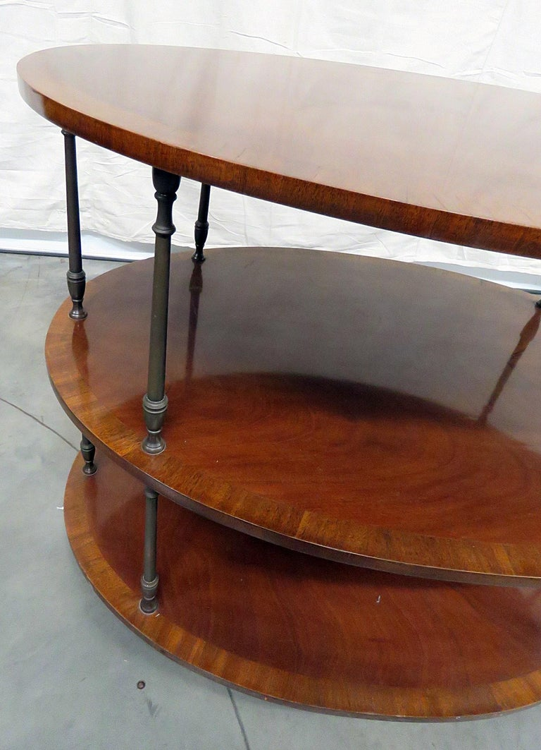 Georgian English Regency Style Satinwood and Mahogany Brass Inlaid Dessert Side Table For Sale