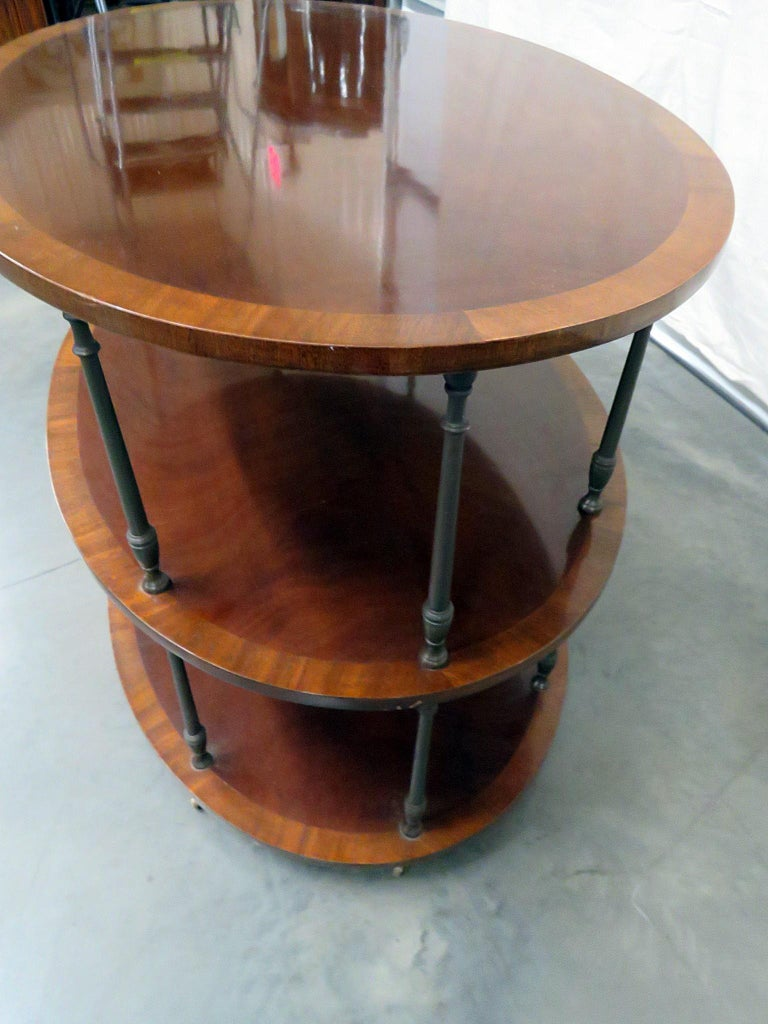 Metal English Regency Style Satinwood and Mahogany Brass Inlaid Dessert Side Table For Sale