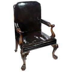 Georgian Style Irish Influenced Desk Chair, 19th Century
