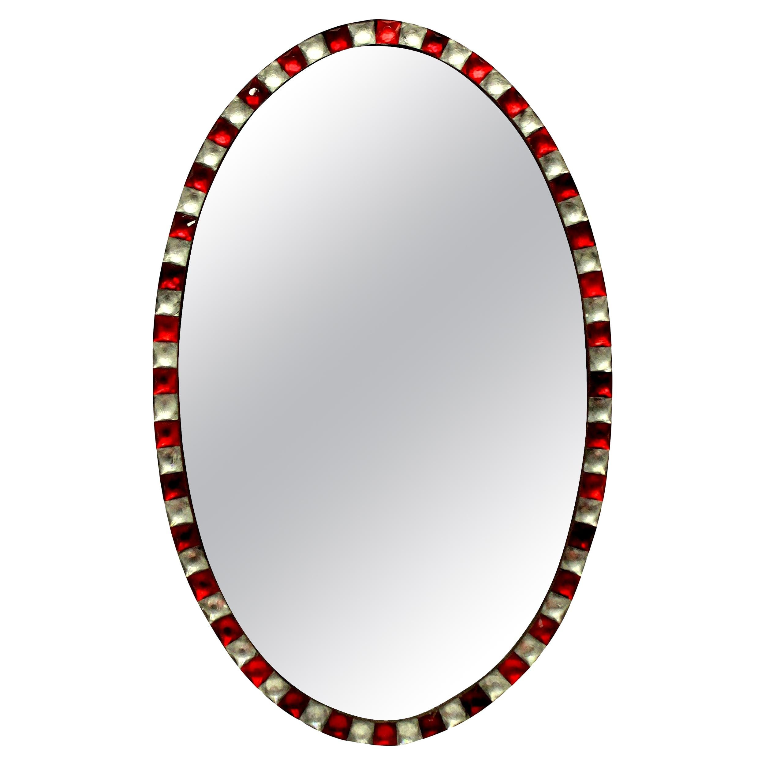 Georgian Style Irish Mirror with Ruby Glass and Rock Crystal Faceted Border