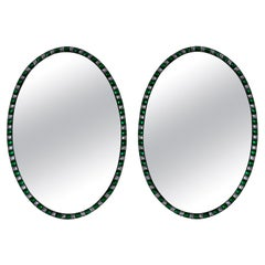 Georgian Style Irish Mirrors with Emerald Glass and Rock Crystal Faceted Border