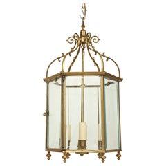 Georgian Style Lacquered Brass Hexagonal Hall Lantern