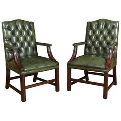 Georgian Style Leather Gainsborough Library Chairs