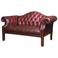Georgian style leather settee