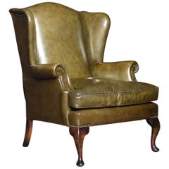 Georgian Style Leather Wingback Armchair