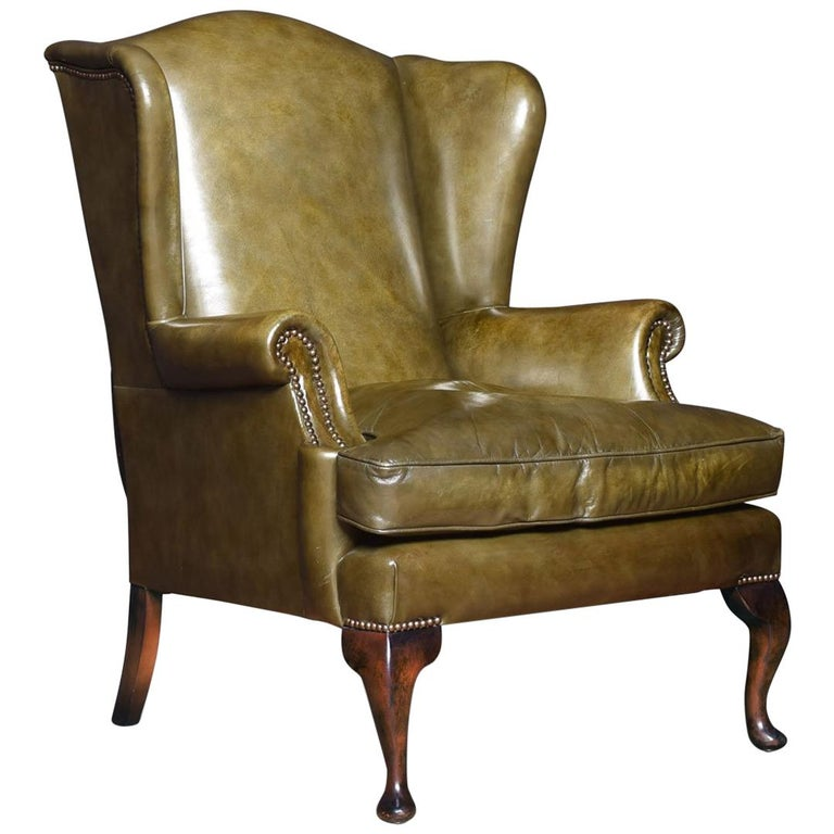 georgian style leather wingback armchair for sale at 1stdibs. Black Bedroom Furniture Sets. Home Design Ideas