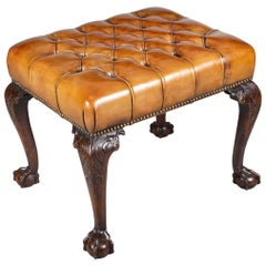 Georgian Style Mahogany and Leather Stool, circa 1900