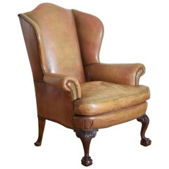 Georgian Style Mahogany and Leather Upholstered Wingchair, Early 20th Century