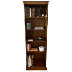 Georgian Style Mahogany Bookcase, English Adjustable Shelves with String Inlay