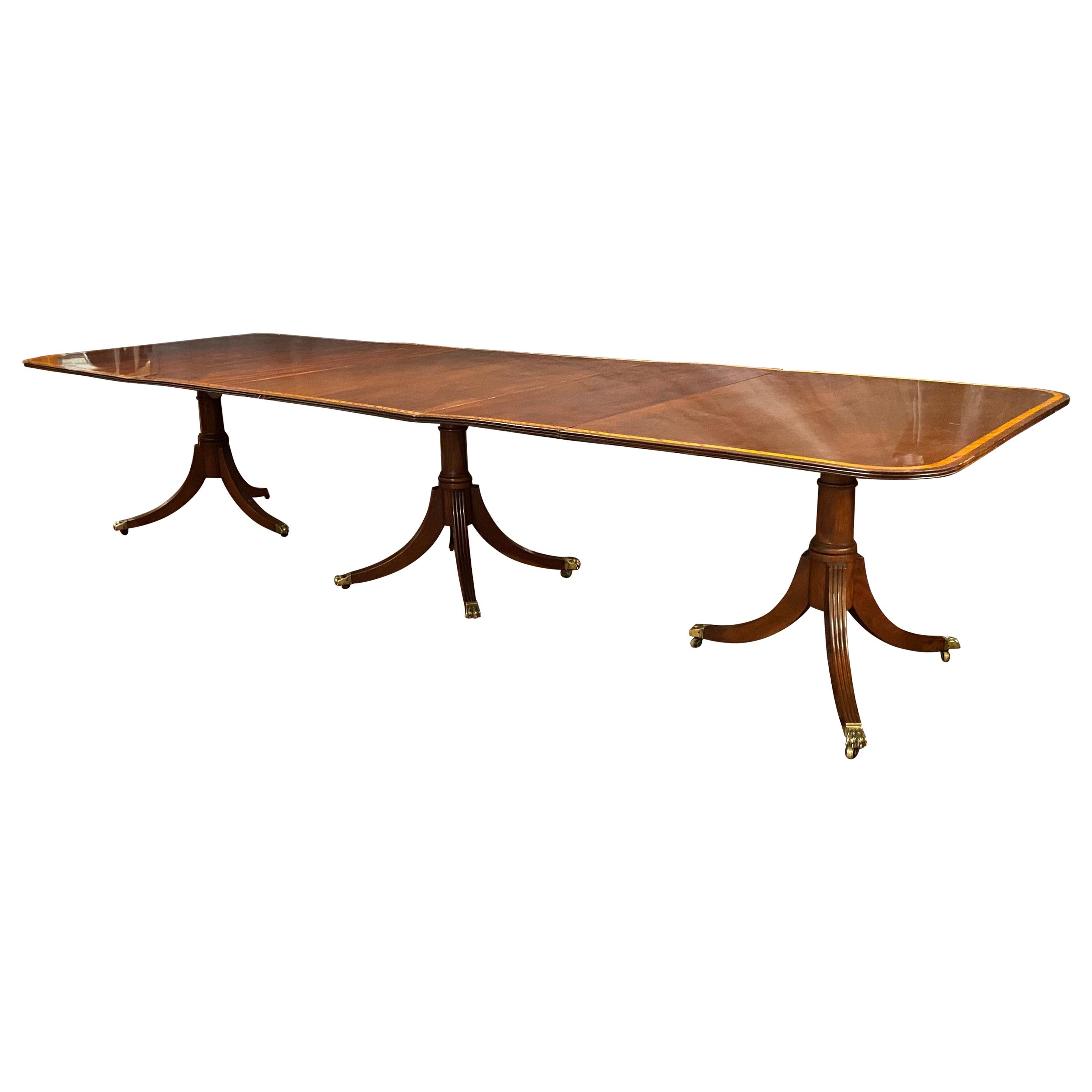 Georgian Style Mahogany Triple Pedestal Banded Dining Table with Two Leaves