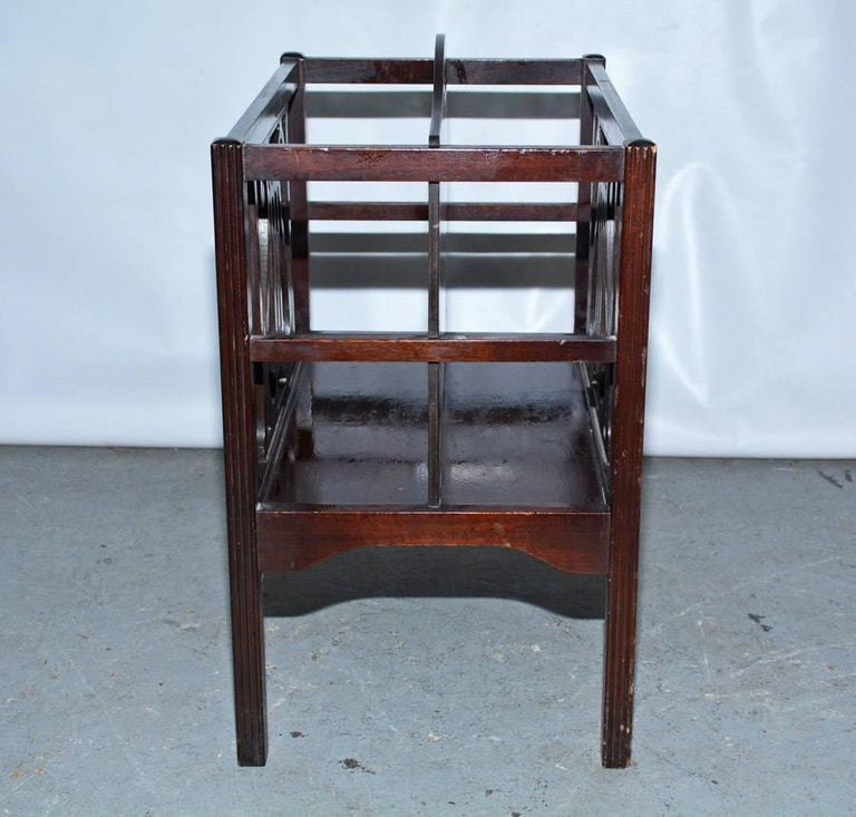 American Georgian Style Mahogany-Veneer Magazine Rack or Canterbury For Sale