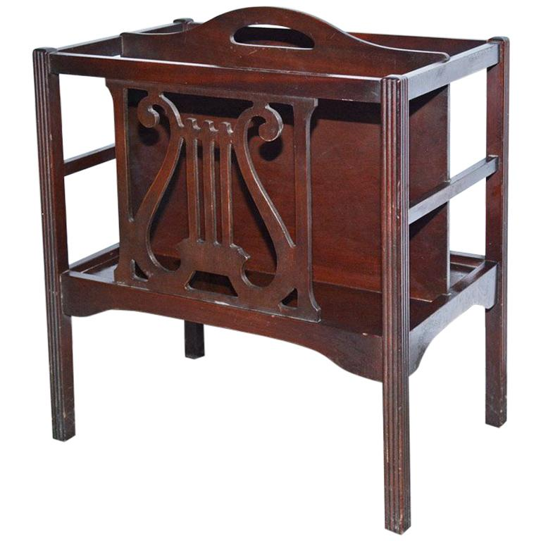 Georgian Style Mahogany-Veneer Magazine Rack or Canterbury For Sale