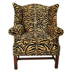 Georgian Style Mahogany Wingback Armchair in Scalamandré Le Tigre
