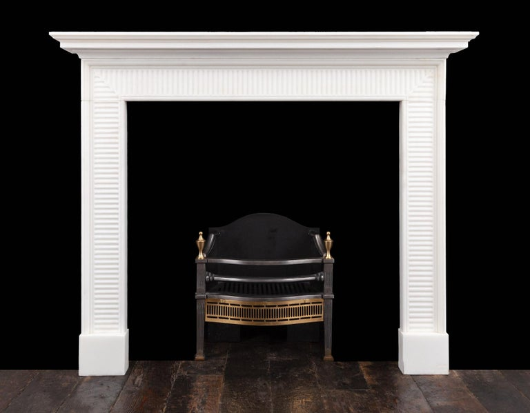 Carved Georgian Style Marble Fireplace For Sale