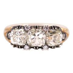 Georgian Style Old Cut Three-Stone Diamond Engagement Ring
