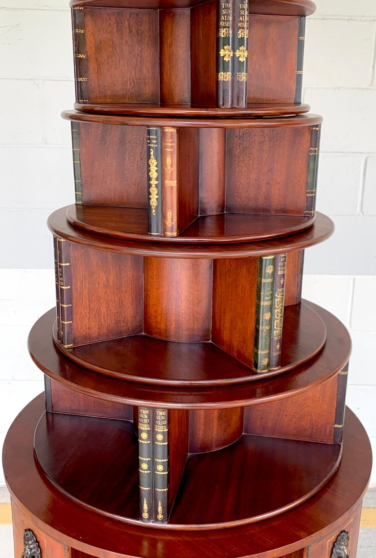 Georgian Style Six-Tier Faux Book Motif Leather Embossed Revolving Bookcase In Good Condition For Sale In Atlanta, GA