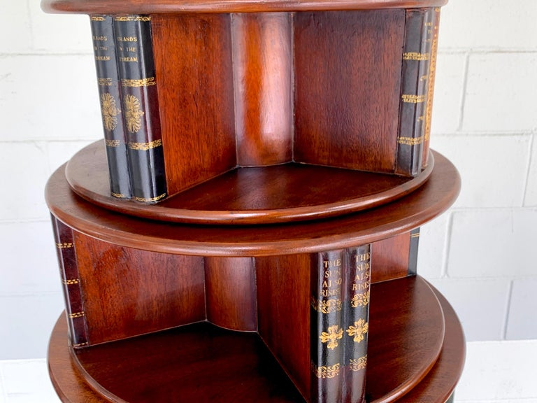 Georgian Style Six-Tier Faux Book Motif Leather Embossed Revolving Bookcase For Sale 1