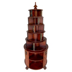 Georgian Style Six-Tier Faux Book Motif Leather Embossed Revolving Bookcase