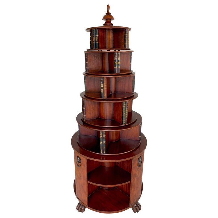 Georgian Style Six-Tier Faux Book Motif Leather Embossed Revolving Bookcase For Sale