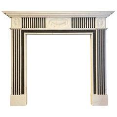 Georgian Style Statuary Marble Inlaid Fireplace Mantel