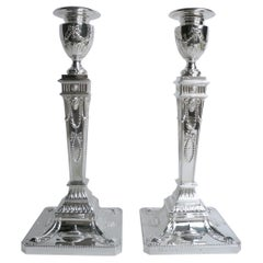 Georgian Style Sterling Silver Candlesticks by Walker and Hall