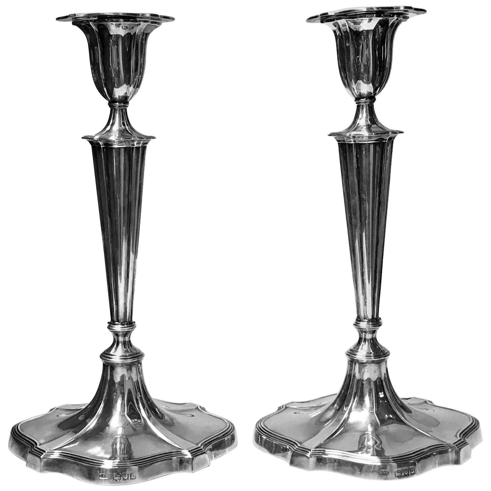 Georgian Style Sterling Silver Candlesticks, Crichton, London, 1917