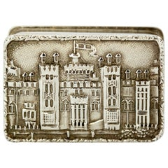 Georgian Style Sterling Silver Snuff / Pill Box with Castle Engraving