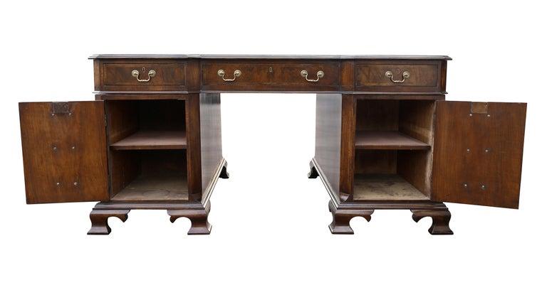 Georgian Style Walnut Partners Desk For Sale 6