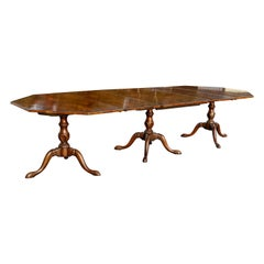 Georgian Style Walnut Three-Pedestal Dining Table