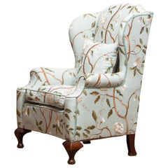 """Georgian Style Wingback Chair with Embroidered Fabric, """"Completely Restored"""""""