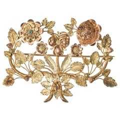 Georgian Three Color Gold Floral Brooch with Ruby and Emerald English circa 1825