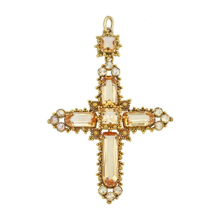 Georgian Topaz Cross Pendant For Sale
