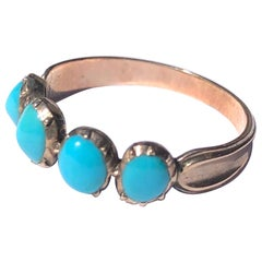 Georgian Turquoise and 9 Carat Gold Four-Stone Band