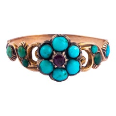 Georgian Turquoise and Ruby 18 Carat Gold Ring