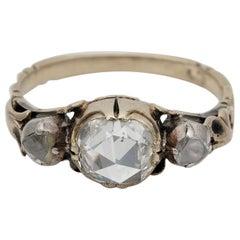 Georgian /Victorian 1.00 Carat Plus Rose Cut Diamond Trilogy Ring