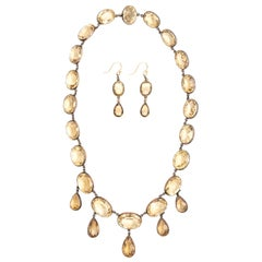 Georgian Victorian Sterling Silver and Gold Citrine Paste Necklace and Earrings