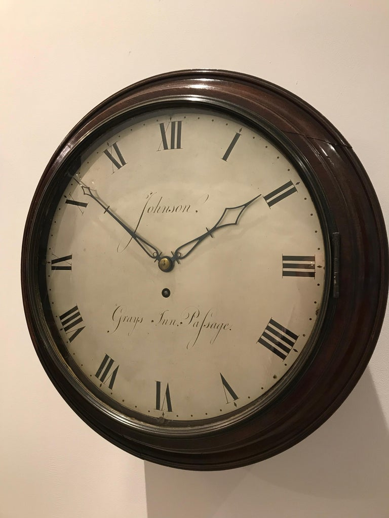 Early 19th Century Antique Mahogany Cased Wall Clock by John Johnson of London
