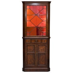 Georgian Walnut circa 1800 Corner Cupboard Astral Glazed with Built in Lights