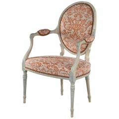 Georgian White Painted Salon Armchair