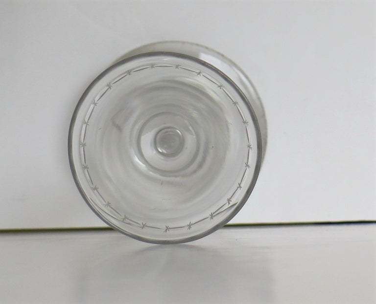 Georgian Wine Drinking Glass Hand Blown Engraved with Star and Darts, circa 1790 For Sale 5
