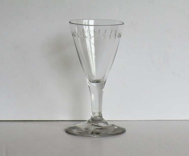 English Georgian Wine Drinking Glass Hand Blown Engraved with Star and Darts, circa 1790 For Sale