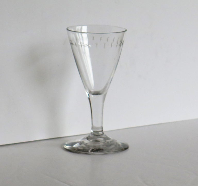 Hand-Crafted Georgian Wine Drinking Glass Hand Blown Engraved with Star and Darts, circa 1790 For Sale