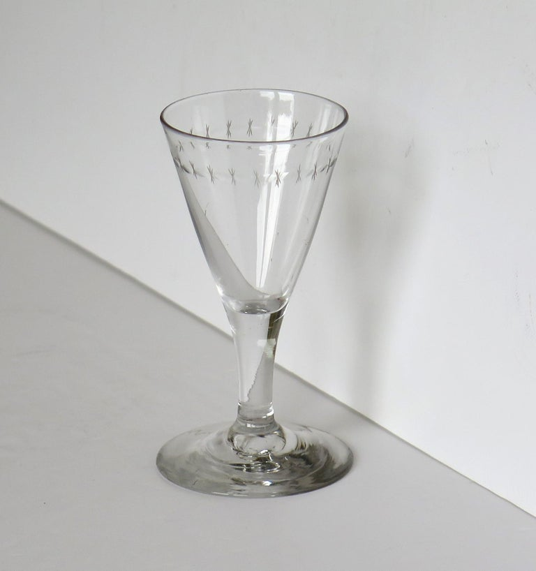 Georgian Wine Drinking Glass Hand Blown Engraved with Star and Darts, circa 1790 In Good Condition For Sale In Lincoln, Lincolnshire